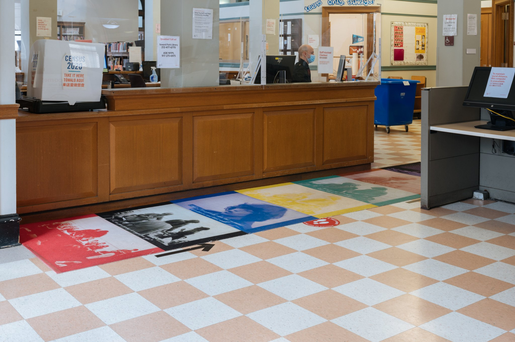 Victoria Colmegna, Mod, 2020. Dye-sublimation printed carpet. 48 x 192 in. Installed permanently at Seward Park Library, 192 E Broadway, New York, NY 10002.